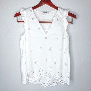 Madewell White Tank with Cutout Design